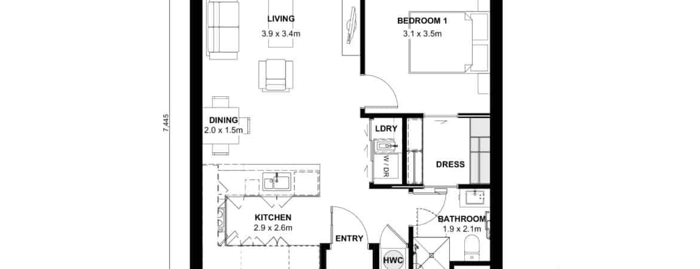 The Grove Orewa - Floor plan B - One Bedroom