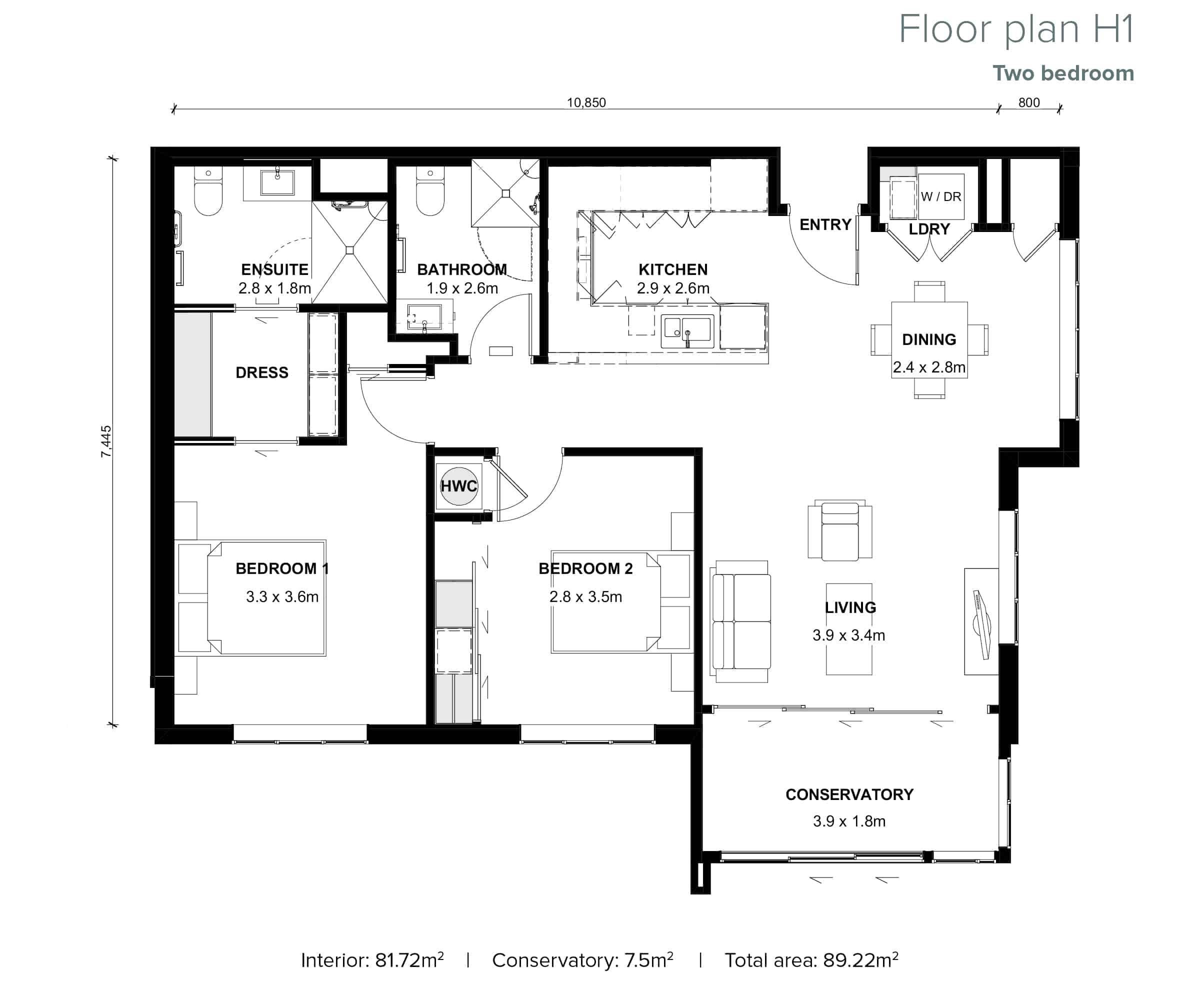 The Grove Orewa - Floor plan H1 - Two Bedroom
