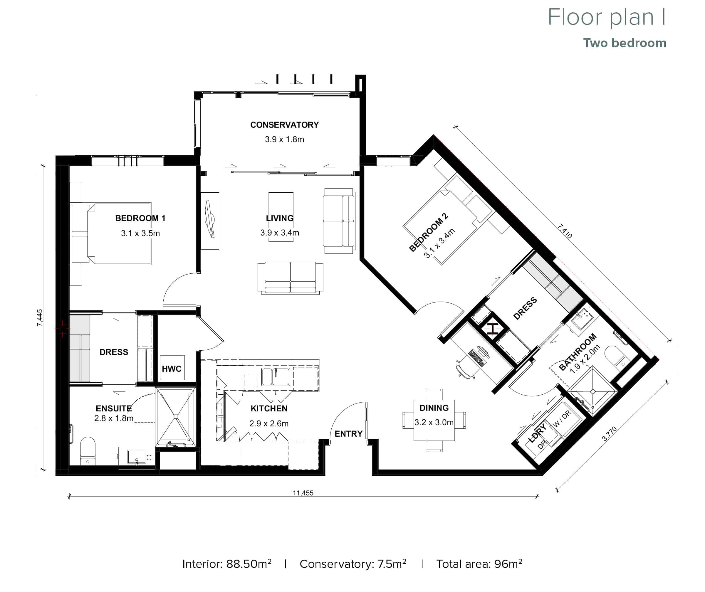 The Grove Orewa - Floor plan I - Two Bedroom