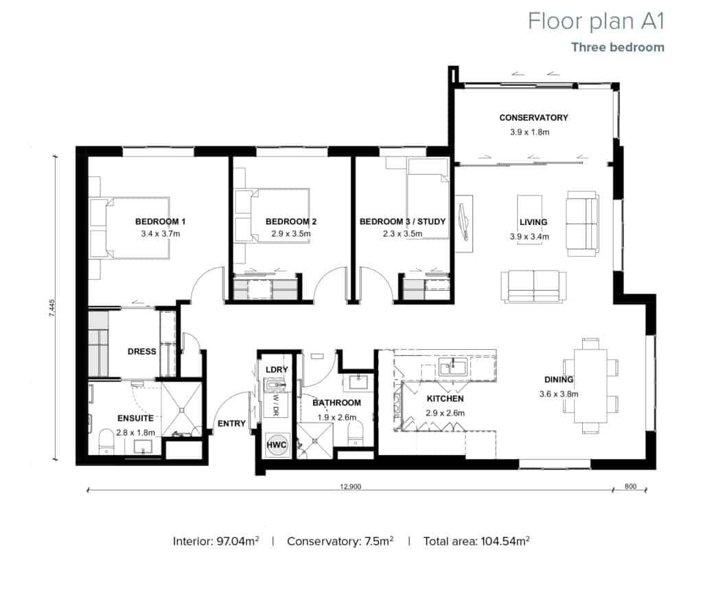 The Grove Orewa - Floor plan A1 - Three Bedroom