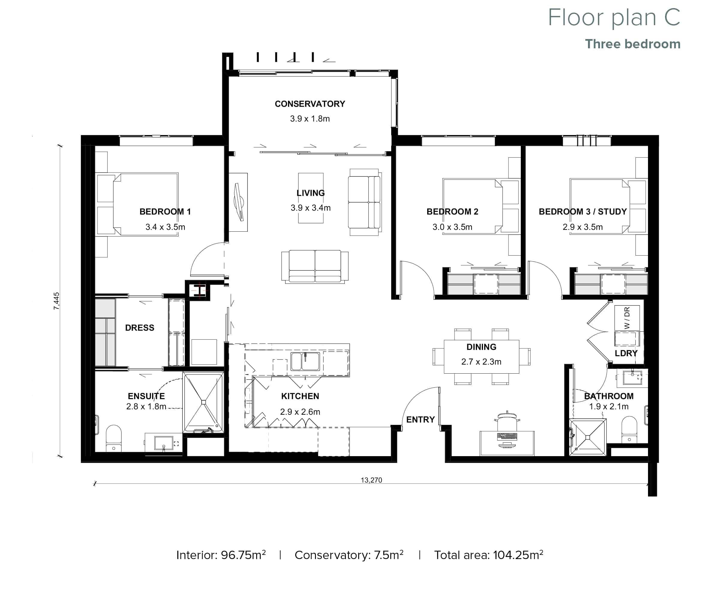 The Grove Orewa - Floor plan C - Three Bedroom