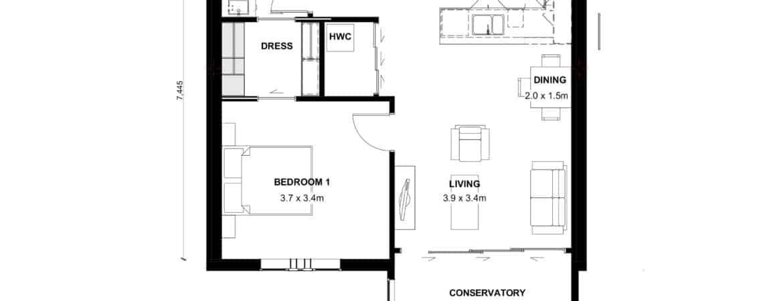 The Grove Orewa - Floor plan D - One Bedroom