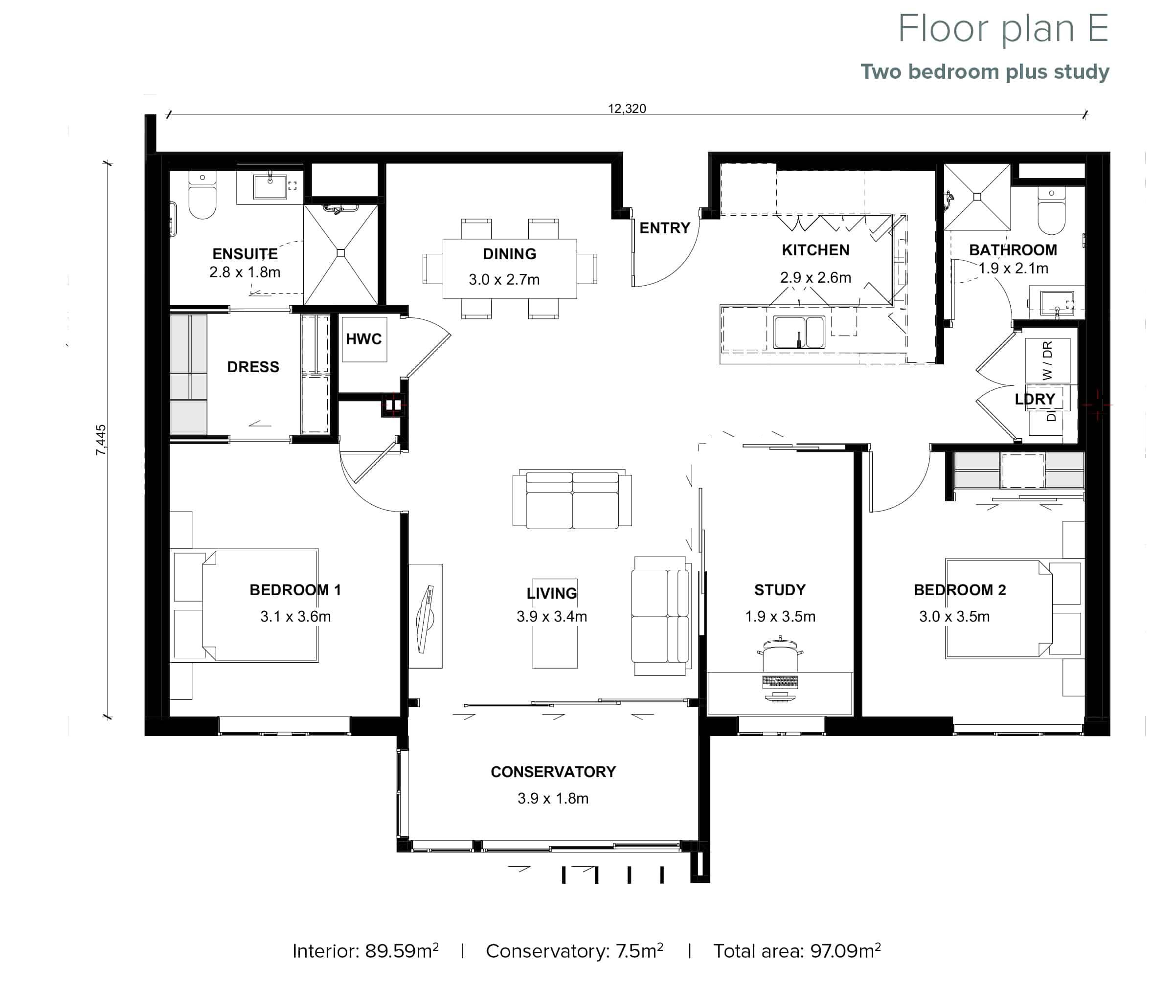 The Grove Orewa - Floor plan E - Two Bedroom Plus Study
