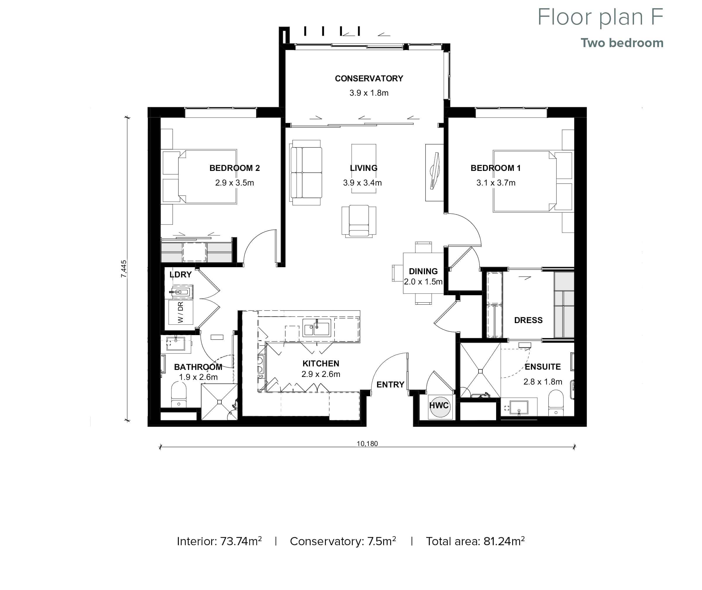 The Grove Orewa - Floor plan F - Two Bedroom
