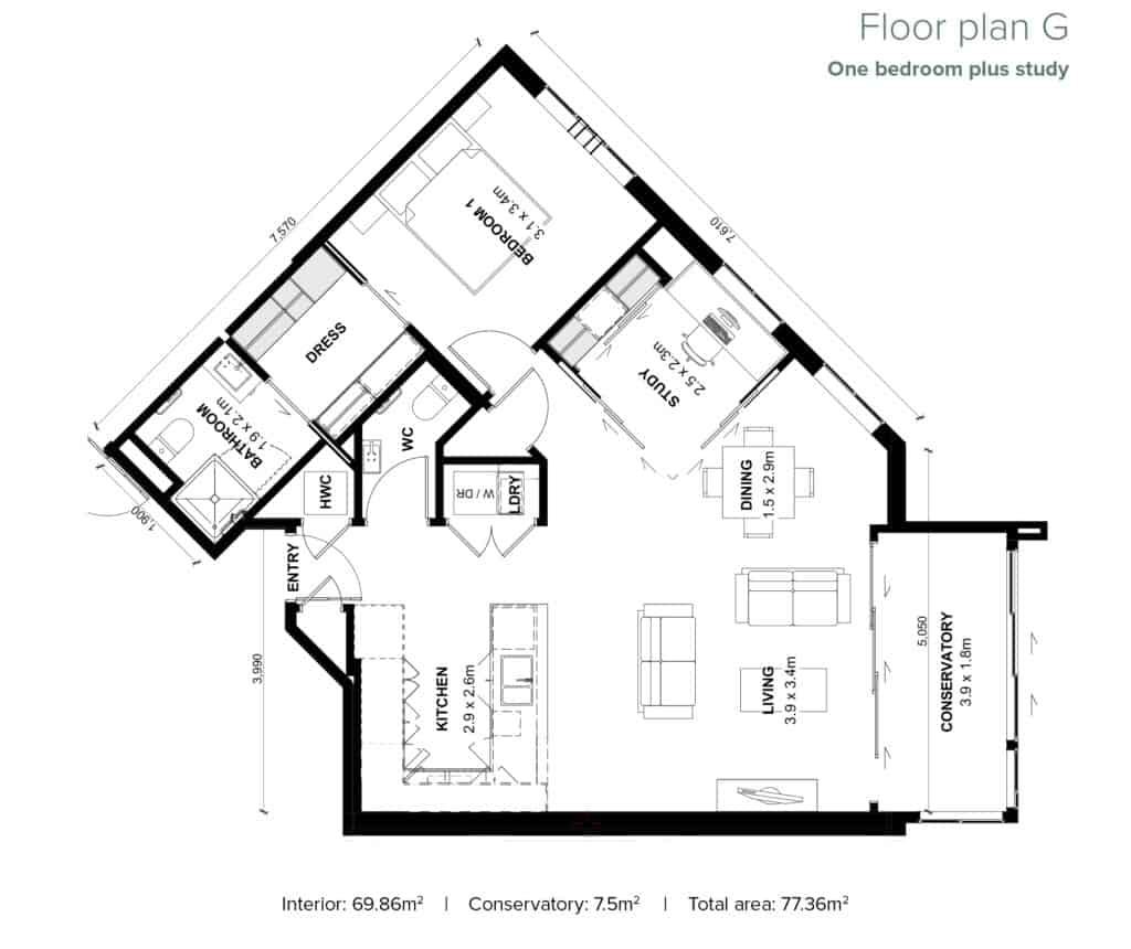 The Grove Orewa - Floor plan G - One Bedroom Plus Study