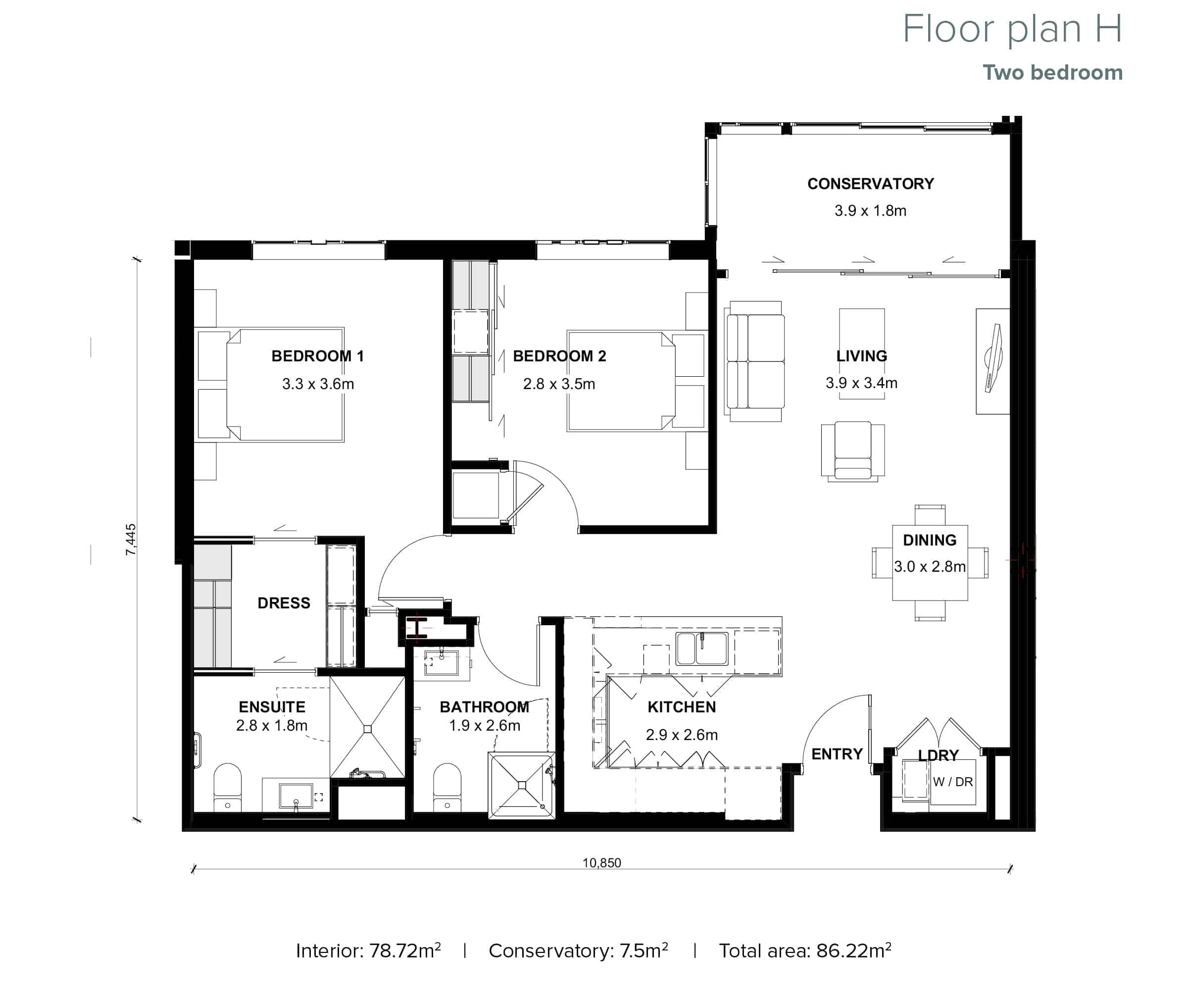 The Grove Orewa - Floor plan H - Two Bedroom