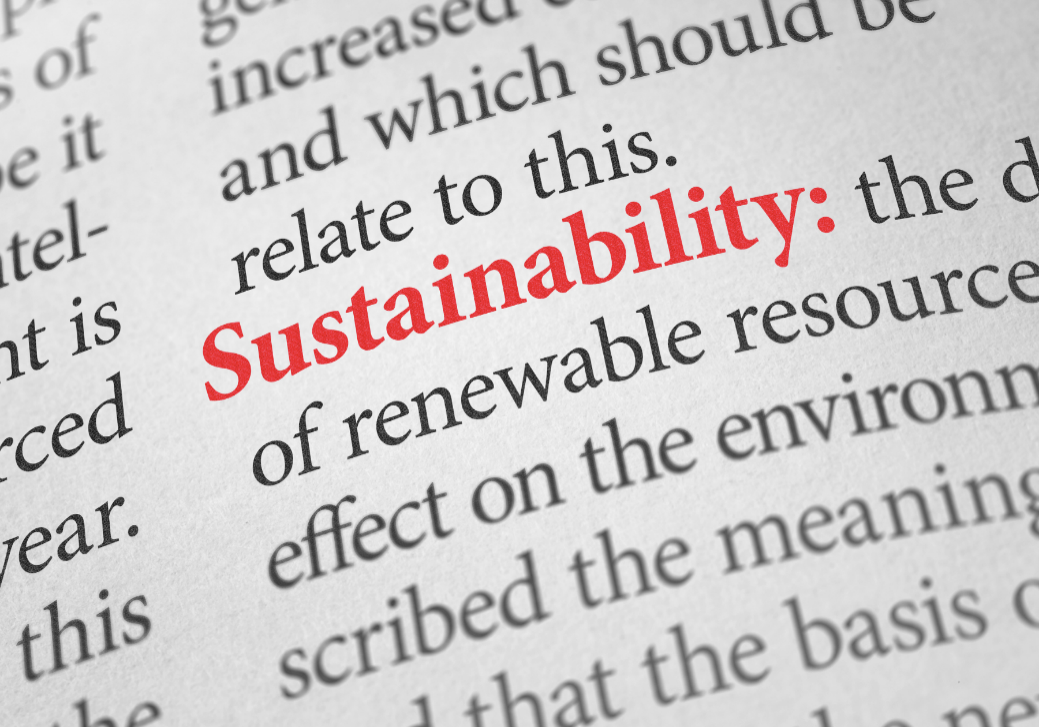 The word sustainability highlighted in red with a part description of its meaning