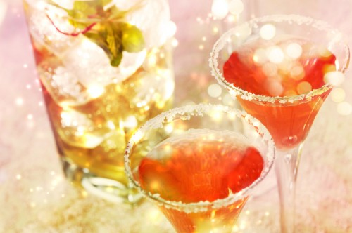 Red cocktail with salt