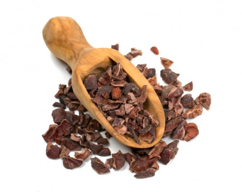 cocoa nibs isolated on white