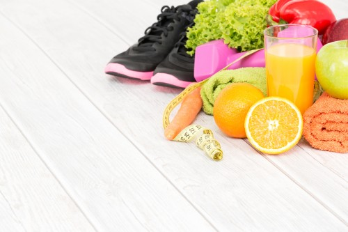 Fitness equipment and healthy nutrition.
