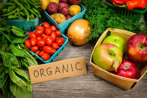 Organic market fruits and vegetables