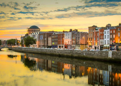 Dublin at Sunset by the River Liffey (The River of Life)