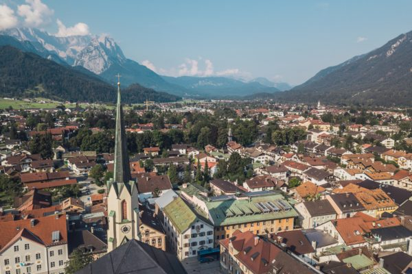 Aerial view of Garmisch-Partenkirchen at summer time