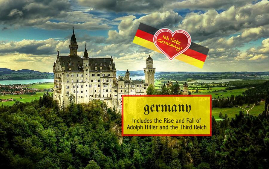 MUNICH / MOZART'S SALZBURG / NUREMBURG / PRAGUE / NEUSCHWANSTEIN CASTLE / DACHAU / BERCHTESGADEN / NYMPHENBURG/THE ALPS AT ZUGSPITZE / GARMISCH / PLUS THE RISE OF ADOLPH  HITLER AND THE THIRD REICH