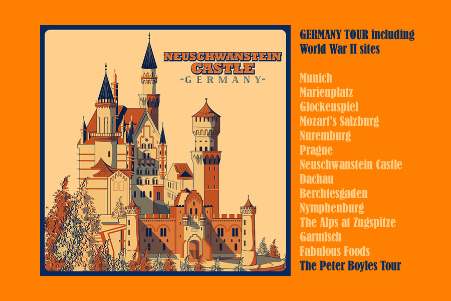 MUNICH / MOZART'S SALZBURG / NUREMBURG / PRAGUE / NEUSCHWANSTEIN CASTLE / DACHAU / BERCHTESGADEN / NYMPHENBURG/THE ALPS AT ZUGSPITZE / GARMISCH / PLUS THE RISE OF ADOLPH  HITLER AND THE THIRD REICH