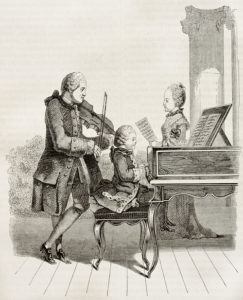 Engraving of a young Mozart