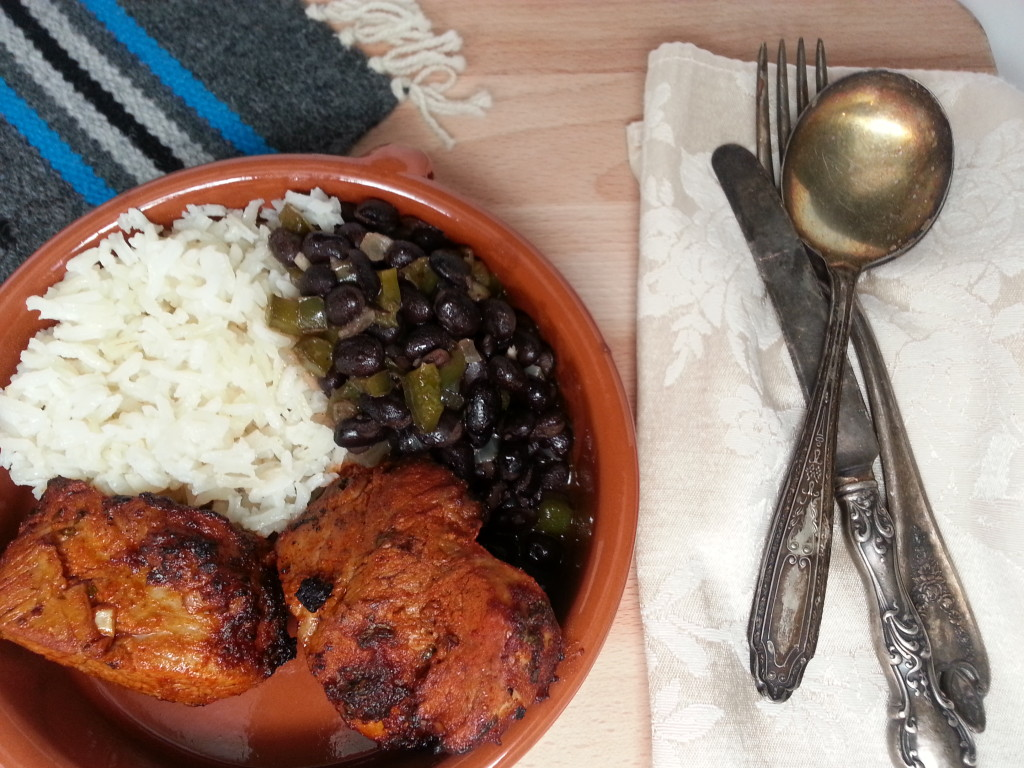 Chile Marinated Pork Tenderloin with Black Beans and Rice
