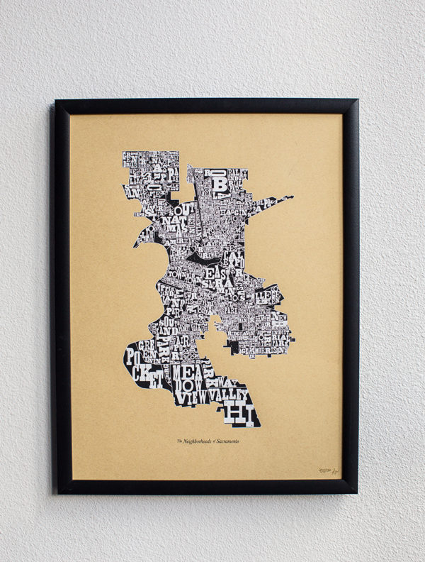 Neighborhoods of Sacramento Screen Printed Poster by Amber WItzke