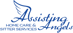 Blue logo stating Assisting Angels Home Care & Sitter Service
