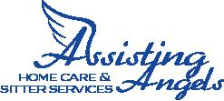 Blue logo stating Assisting Angels Home Care & Sitter Service