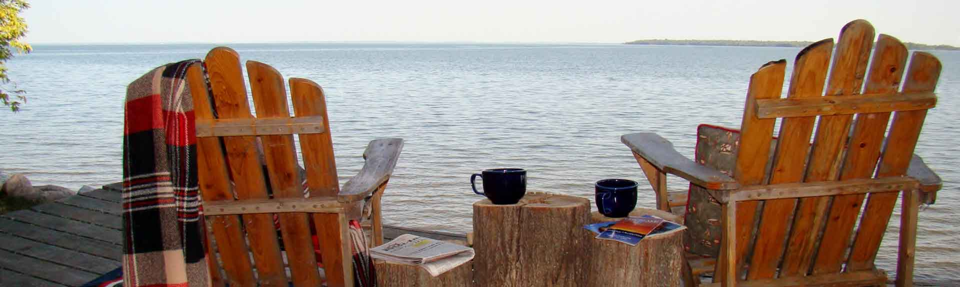 Relax on the lakefront during your stay at Adventure North Resort
