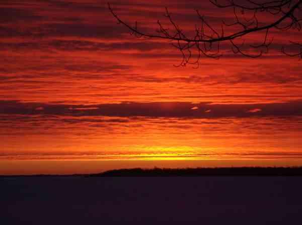 Winter Sunrise over Leech Lake Minnesota at Adventure North Resort