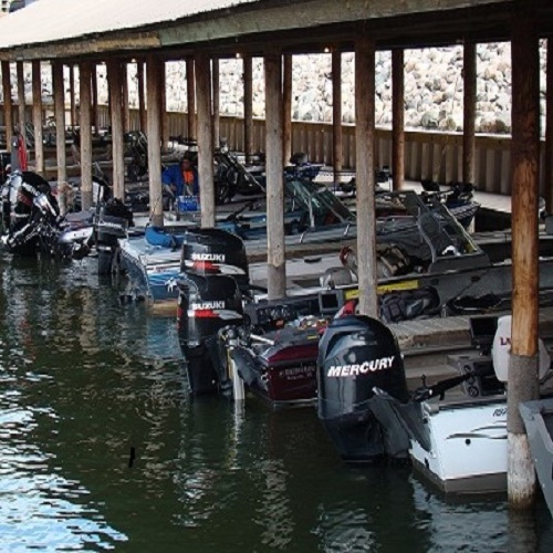 Our covered boat harbor is available for your fishing trip to Minnesota