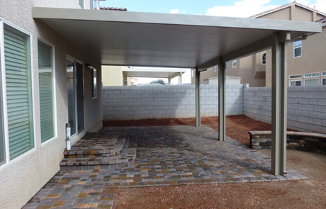 brick paver patio and sturdy patio cover