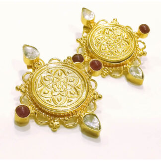 Golden Coin Stud Earrings