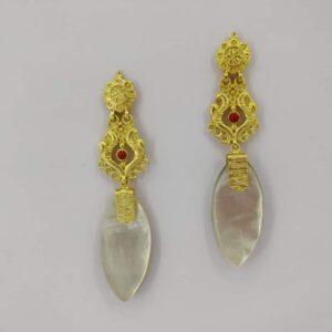 Harappan Long Dangling Earrings White