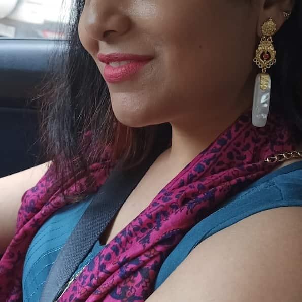 Harappan Long Dangling Earrings Rectangular on Lady