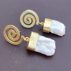 Baroque Pearl Gold-Plated Spiral Dangler Earrings Side