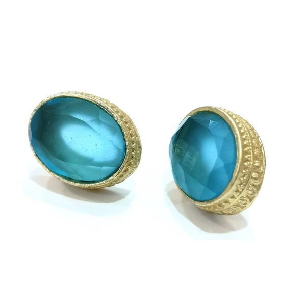 Ocean Blue Topaz Goldplated Studs with Detailed Bezel