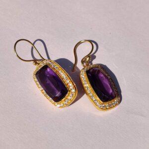 Purple Amethyst Hook Earrings with American Diamonds Style