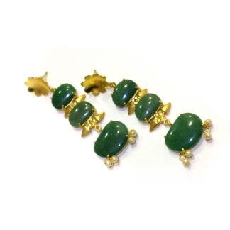 Green Boho Long Earrings