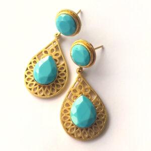 Turquoise Frame Dangling Earrings