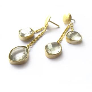 Crystal Duo Chain Earrings