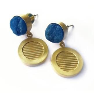 Textured Indigo Medallion Earrings