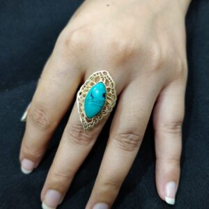 Turquoise Cutouts Marquise Ring