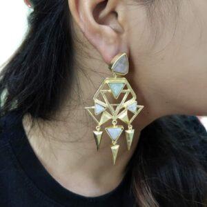 Art Deco Green Golden Earrings Body