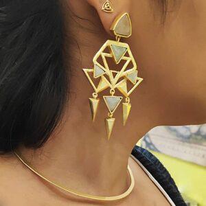 Art Deco Green Golden Earrings on Lady