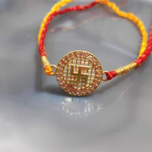 Gold Plated 925 Sterling Silver Satiya CZ Rakhi