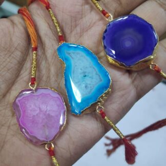 Gold Plated Druzy Rakhi Multi Colour Set of 3