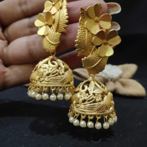 Gold Plated Floral Blossom Jhumki with Pearl