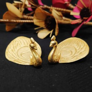 Dancing Peacock Gold Plated 3D Ear studs