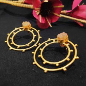 Gandola Inspired Pink Druzy set Gold Studded Earrings
