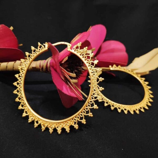 Glamorous Delicate Filigree Gold Plated Hoops