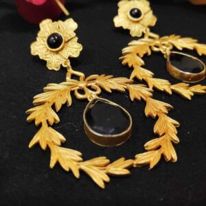 Golden Wreath Black Onyx Studded Dangling Earrings