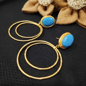 Classic Concentric Round Danglers with Turquoise
