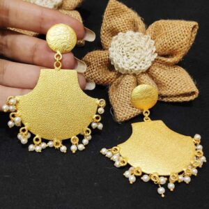 Round Top Textured Fan Earrings with Pearl Drops